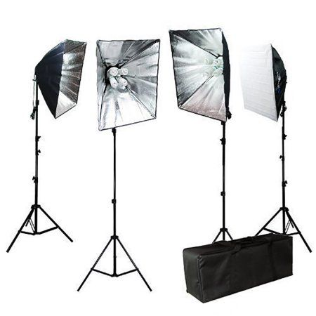 Limo Studio 3200W Photo Video Studio Softbox Lighting Light Kit with Carrying Case For Product, Portrait, and Video Shoots, LIWA16