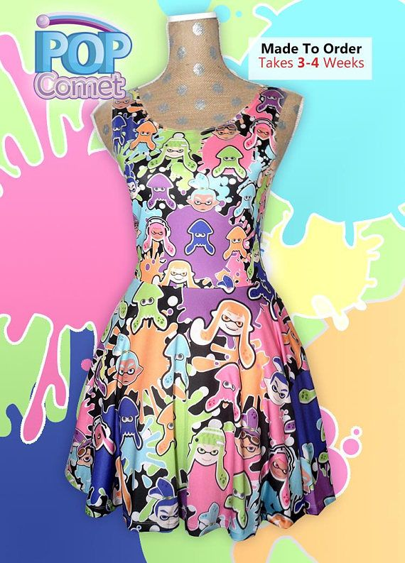 68fd775cfc0 Splatoon Inspired Dress Splatoon Skater Dress Inkling Dress Squid ...