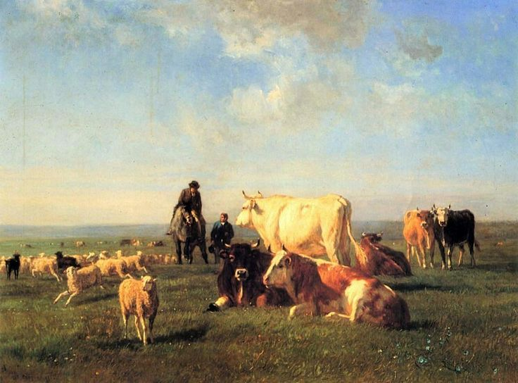 Constant Troyon 1862 Cattle and sheep grazing 31 1/2 × 42 1/2