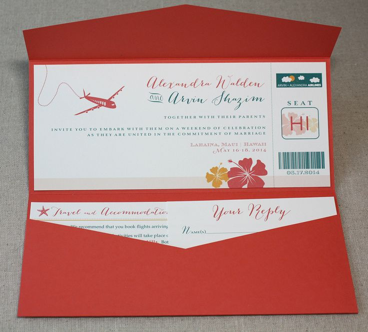 Another ticket invitation for a destination wedding