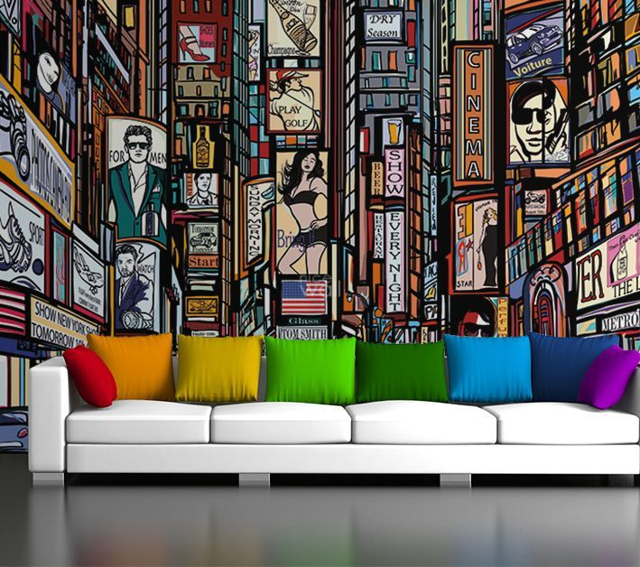 Cartoon Style New York Wall Murals For Home Walls By Homewallmurals.co.uk.