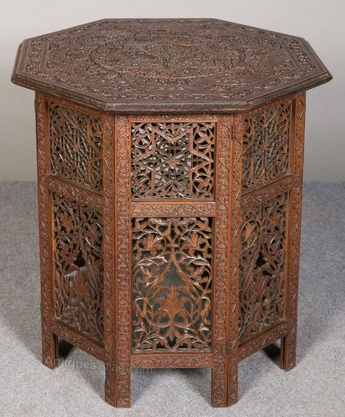 Antique Indian Coffee Tables: An Unusual Hexagonal Shaped Asian Teak Occasional Or End
