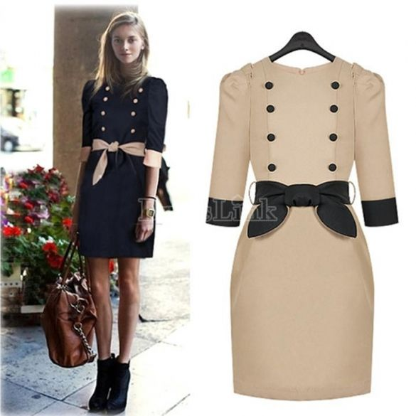 Women's Spring/ Autumn Double-Breasted One-piece Dress Casual Dresses With Belt