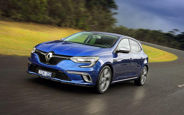 Download wallpapers 4k, Renault Megane, road, 2018 cars, new Megane, french cars, Renault