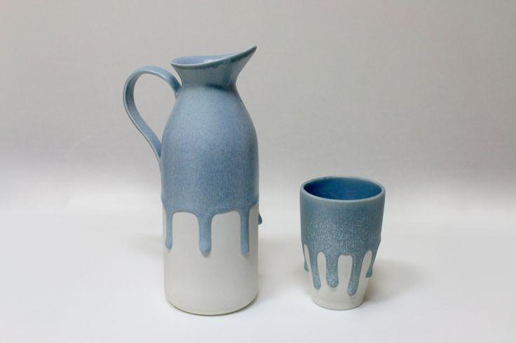 [Flowing] pitcher,porcelain,melting matte glaze,slip casting. JaHyeon Jeon Work. 2014. korea.
