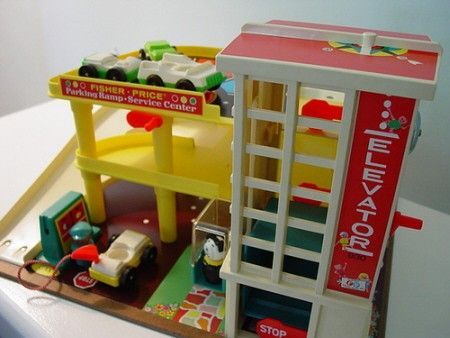 """""""Fisher Price garage with crank operated lift. because mechanics was more exciting than electronics in the 70's"""" Richard Ambrose"""