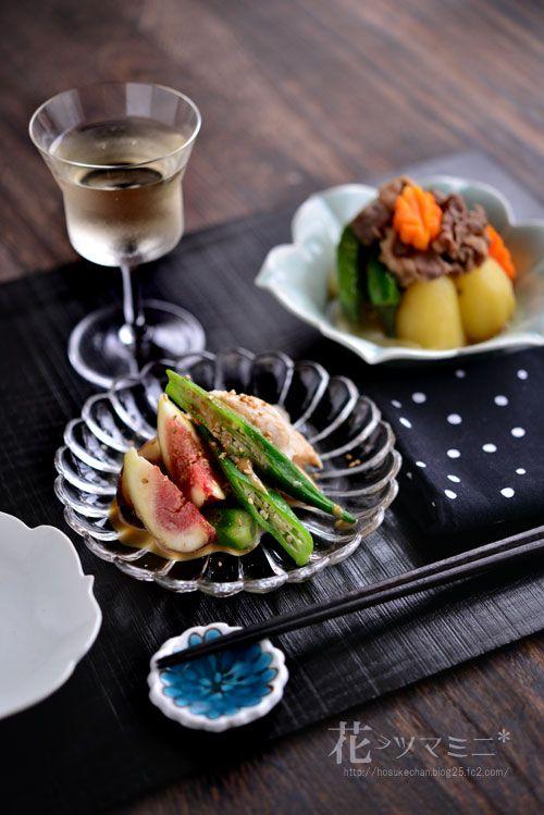 ささみと無花果の胡麻ソース - Chicken and fig sesamesauce.