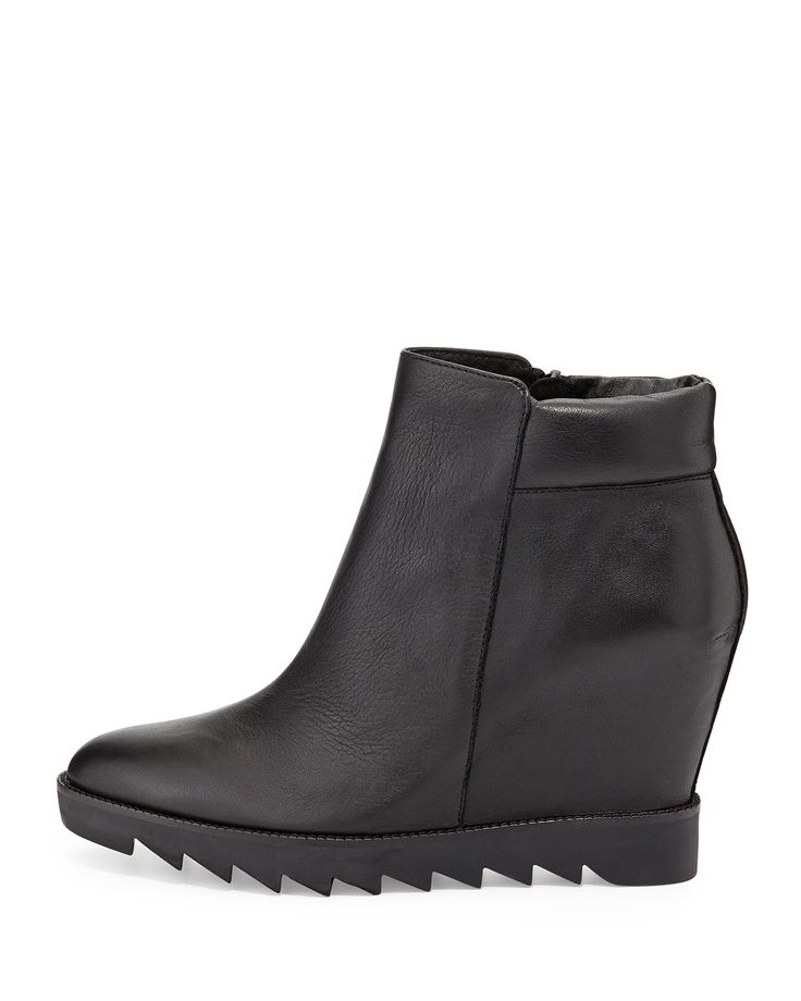 Ash Iron Leather Wedge Bootie