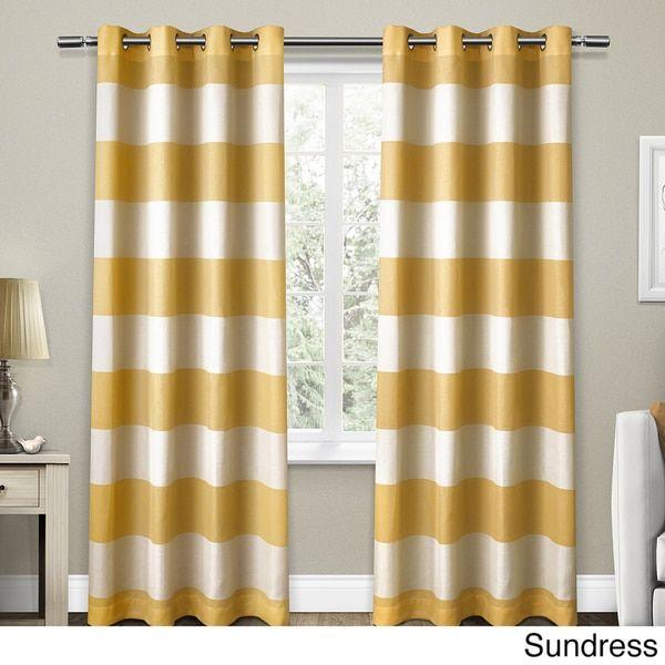 ATI Home Santa Monica Cabana Stripe Linen Grommet Top Window Curtain Panel Pair