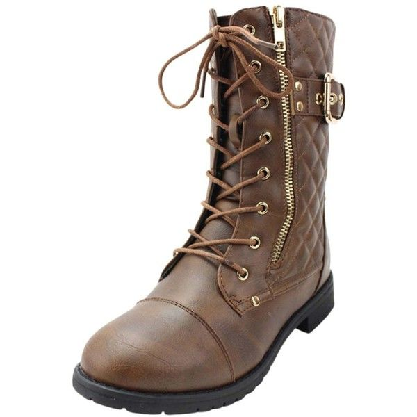 Brown Quilted Moto Combat Boots With Side Buckle ($45) ❤ liked on Polyvore featuring shoes, boots, ankle booties, boots women, brown, footwear, brown boots, combat boots, lace up booties and brown lace up boots