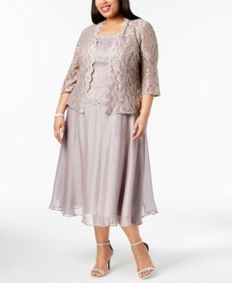 2642e3bc4a5 Plus Size Glitter Lace Midi Dress