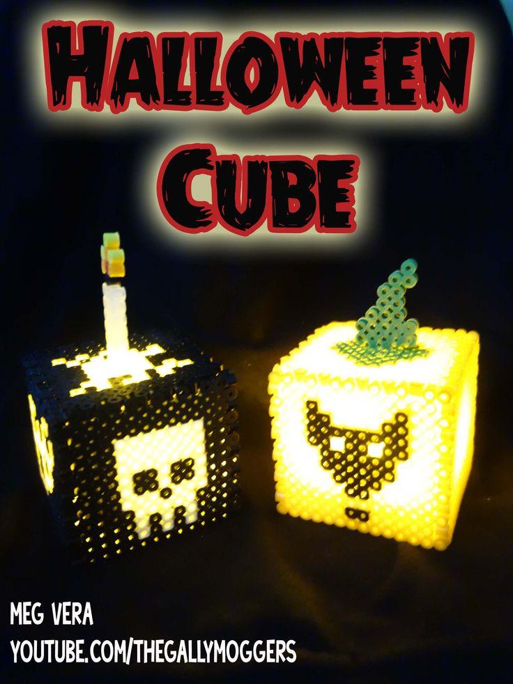 DIY Halloween Decor Skull & Black Cat - Perler/Hama/Pyssla/Fuse Beads/Nabbi http://youtu.be/6LbNO6o-yp4 (tutorial)