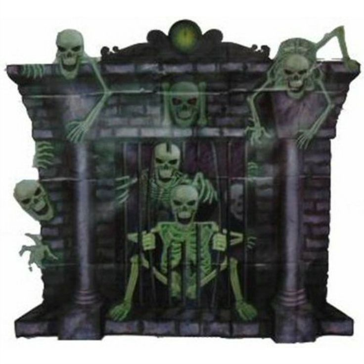 "making miniture halloween scenes | Halloween Scene Setter Wall Decoration Fireplace With Skeletons 35"" x ..."
