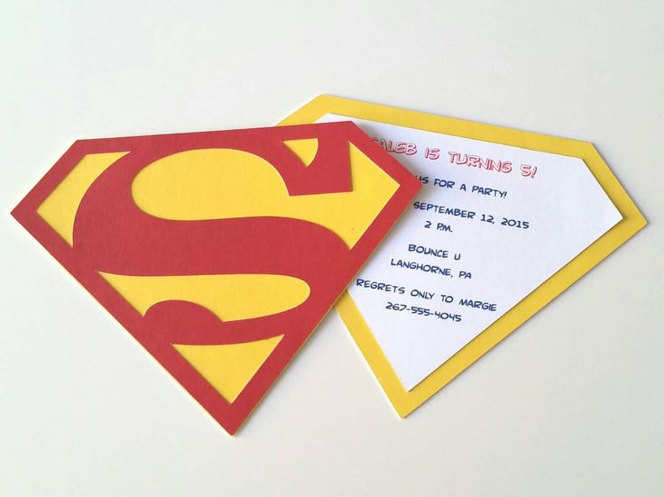 Handmade Superman Party Invitation - Pack of 10 by bellybeancards on Etsy