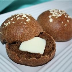 Steakhouse Black Bread Allrecipes.com...I omitted the rye flour and increased the wheat and bread flours 1/2 cup each.....soooooo good!