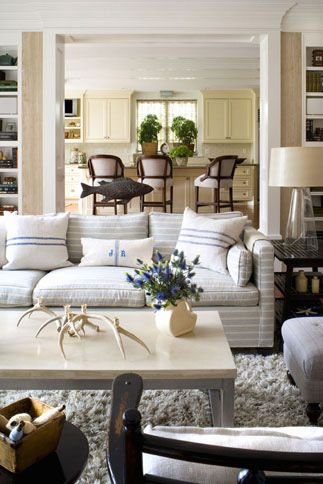 Neutral Living Room Decorating With Subtle Striped Sofa   Burnham Design