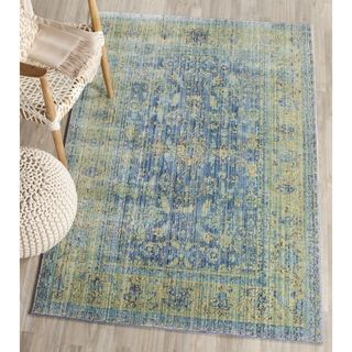Safavieh Valencia Blue/ Multi Distressed Silky Polyester Rug (4u0027 X 6u0027) By  Safavieh