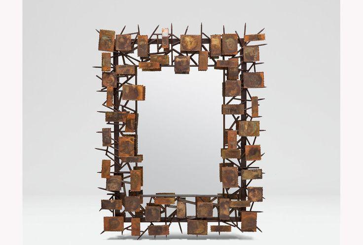 Marco para espejo, realizado con laminas de cobre
