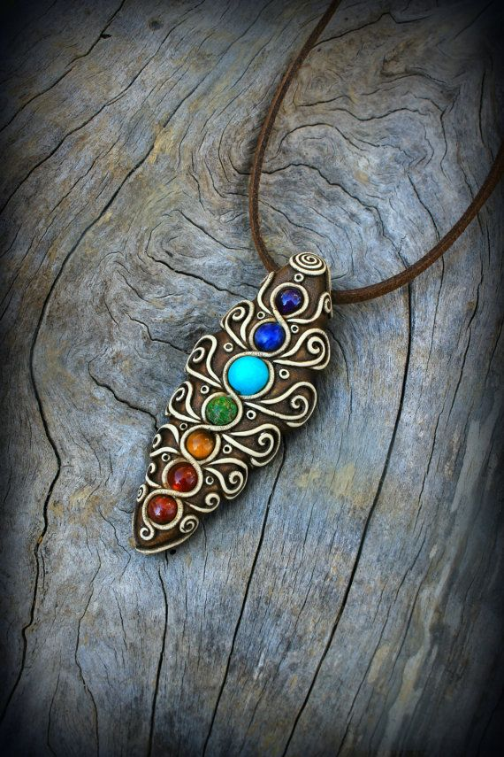 Chakra clay pendant gemstones bead jewelry healing stones reiki yoga spiritual wiccan metaphysical new age