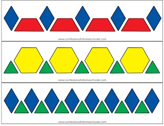 Print on card stock and play for hours! Pattern Block Activity Printables | Confessions of a Homeschooler