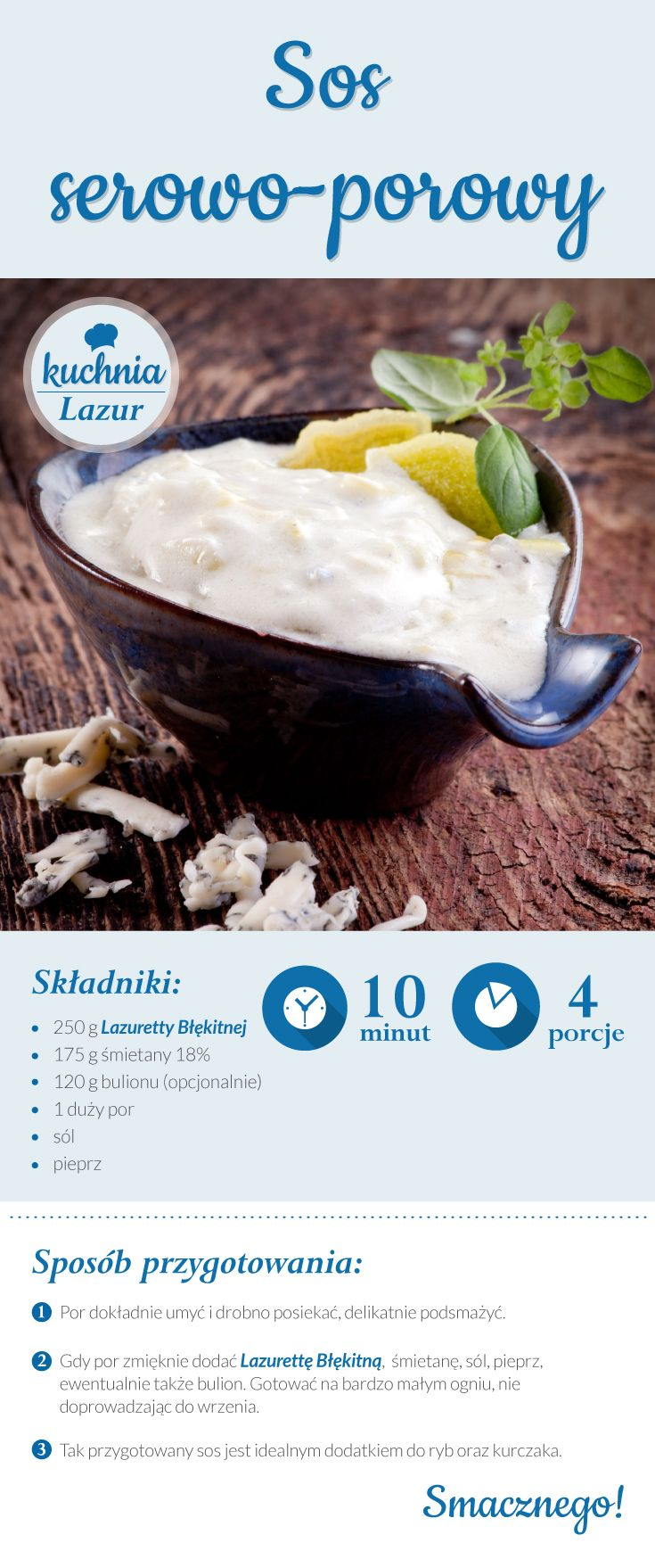 Sos serowo-porowy /sos /por /Lazur /ser pleśniowy /rokpol /przepisy /kuchnia lazur