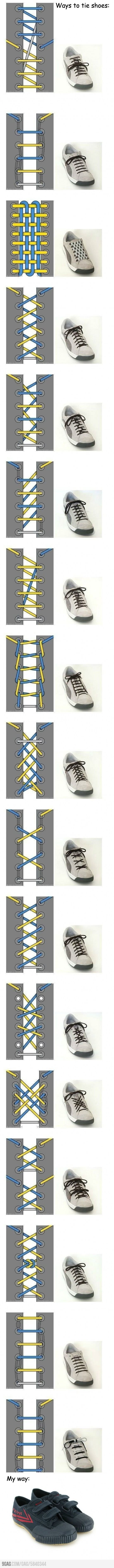 Ways to tie shoes ~Only b/c my daughter is obsessed with the way her shoes are tied. I'm going to have to show her this one! ~J.