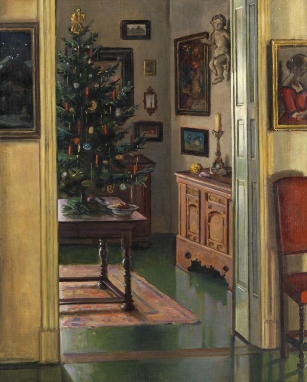 Max Rimböck (German, 1890-1956) Christmas Interior.