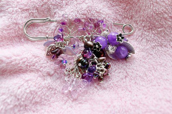 Brooch Pink Beaded Brooch Pin Flower Brooch от VikaRepkaHandMade