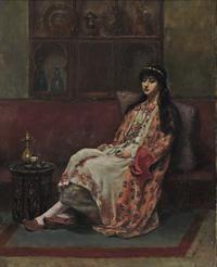 Σαββίδης Συμεών Τουρκάλα την ώρα του καφέ  Σαββίδης Συμεών (1859 - 1927) Λάδι σε μουσαμά ,  Συλλογή Ιδρύματος Ε. Κουτλίδη . Σπούδασε ζωγραφική στην Ακαδημία του Μονάχου (1880–1887) με δασκάλους τον Γύζη, τον Λούντβιχ φον Λεφτς (Ludwig von Löfftz) και τον Βίλχελμ φον Ντιτς (Wilhelm von Diez). Έμεινε στο Μόναχο για αρκετά χρόνια, πραγματοποιώντας  ταξίδια προς την Ελλάδα και την Μικρά Ασία κατά την δεκαετία του 1900 προκειμένου να συγκεντρώσει θεματικό υλικό για τα έργα του…