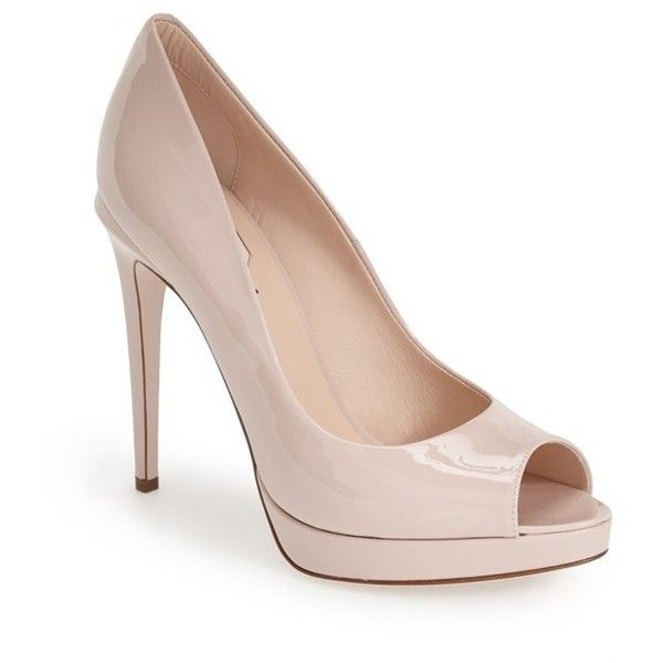 "Fendi 'Sophie' Peep Toe Pump, 4 3/4"" heel ($650) ❤ liked on Polyvore featuring shoes, pumps, heels, high heels, nude patent, peep-toe pumps, patent leather peep toe pumps, nude patent pumps, platform shoes and nude platform pumps"