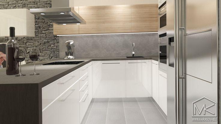 Jednoduchá moderní bílá kuchyně s benátským štukem