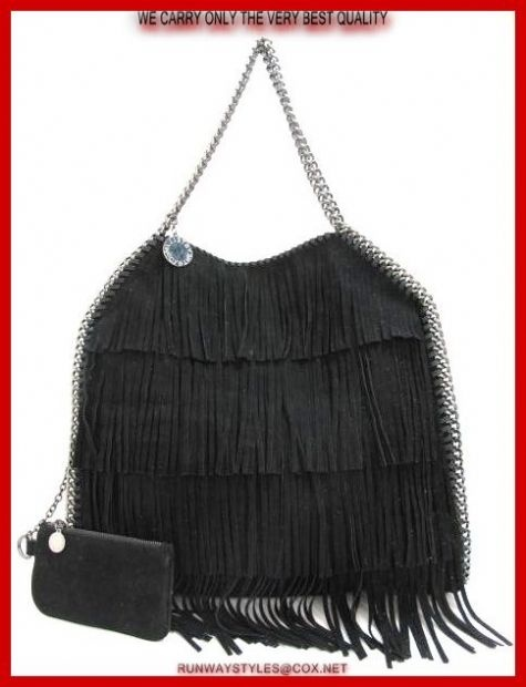 "Stella McCartney Falabella Faux Black Fringe Tote.  Double chain top handles, 9½"" drop   Magnetic snap closure   One inside zip pocket   One inside open pocket   One detachable zip pouch   Fully lined   17""W X 17""H X 4""D"