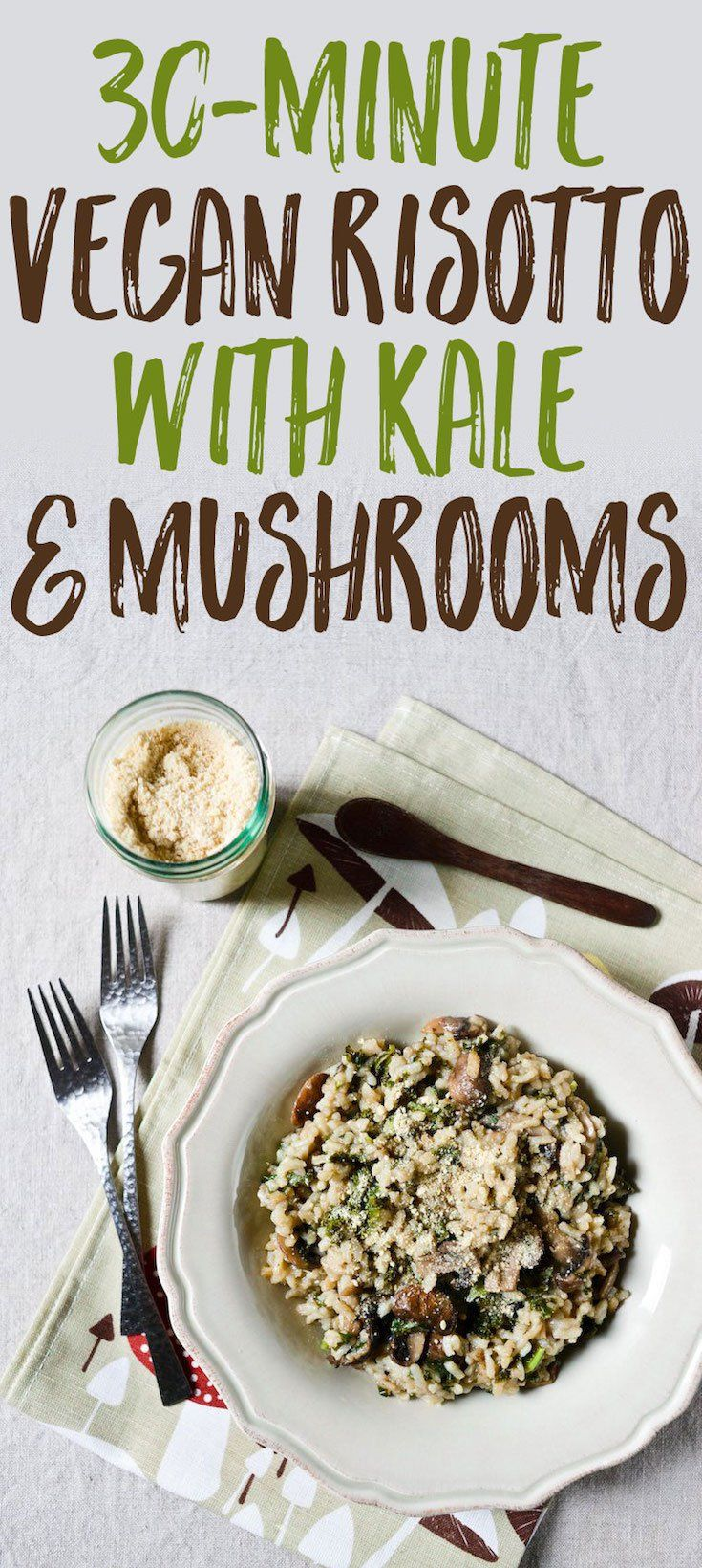A super easy, fail-safe recipe for vegan risotto with kale and mushrooms, made in 20 minutes in the pressure cooker! Includes a formula for vegan parmesan.