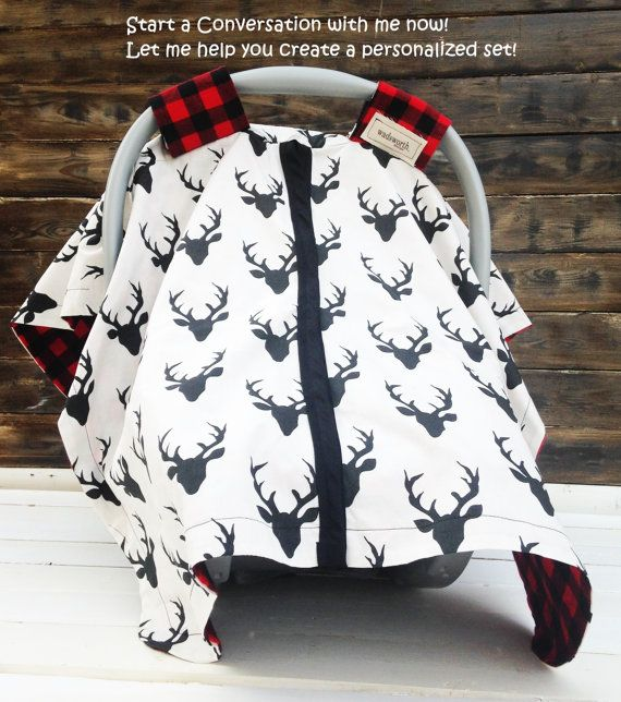 Deer & Plaid Car Seat Cover/ Car Seat Canopy Custom Canopy