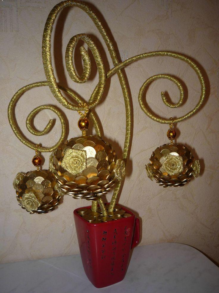 Денежные цветы из монет
