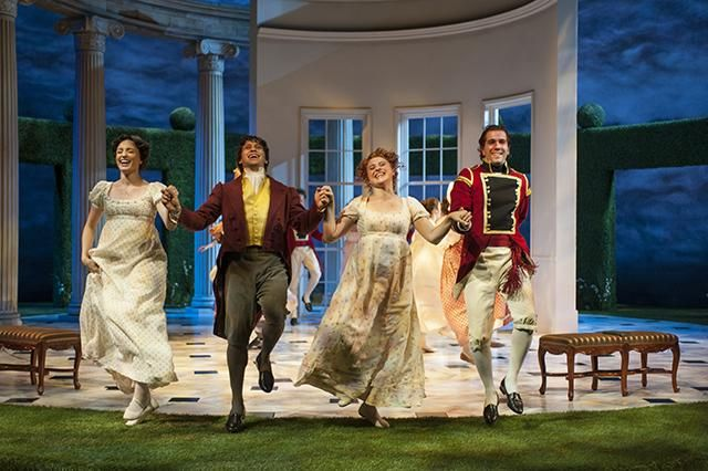 Christine Weber (Jane Bennet), Juan Rivera Lebron, Aeysha Kinnunen (Lydia Bennet) and Emanuel Ardeleanu in the Guthrie Theater's production of Pride and Prejudice, by Jane Austen, adapted by Simon Reade.