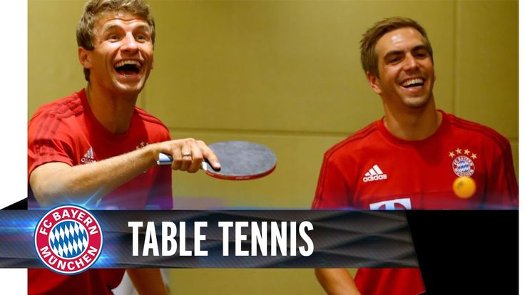 Oh my goodness, this is just pure awesomeness - World Cup Champions Thomas Müller and Philipp Lahm play table tennis against the World Champions Wang Hao and Ding Ning during Bayern's Asia Trip (right now they're in China)