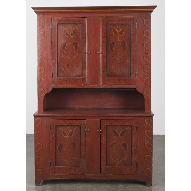 Painted pine stepback cupboard, early 19th c., retaining a later decorated  surface, - 465 Best Primitive Cupboards Images On Pinterest Cupboards