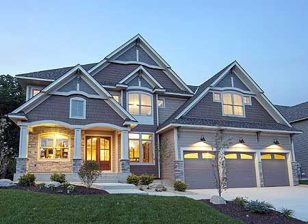 Four Gabled Craftsman Stunner.  Total Living Area: 3,692 sq. ft. Main Flr.: 1,647 sq. ft. 2nd Flr: 1,636 sq. ft. Basement Unfinished: 221 sq. ft. Bonus: 409 sq. ft. Optional Finished LL: 1,429 sq. ft. Attached Garage: 3 Car, 710 sq. ft. Bedrooms: 4/5/6 Full Bathrooms: 5+/4 Width: 62' Depth: 49' Maximum Ridge Height: 35' Exterior Walls: 2x6 Ceiling Height:      Main Floor: 9'     2nd Floor: 8'