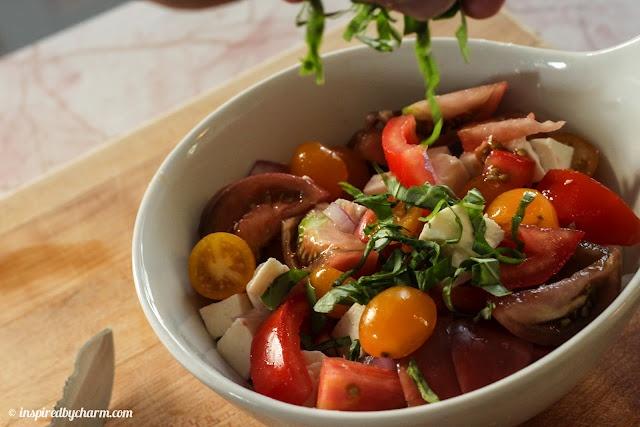 Tomatoes + Mozzarella + Balsamic + Red Onion + EVOO + Basil + Salt & Pepper = Fantastic!