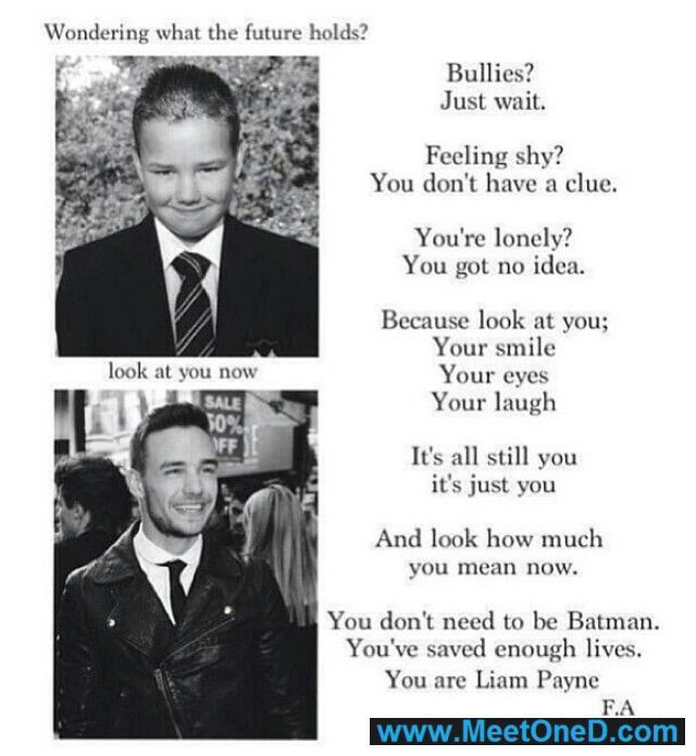 This post makes my heart swell. I could never imagine why such a beautiful boy could be bullied. But it happened. And you can't erase it. But just seeing the confidence change in him since 2010, it's such a massive change. I love you Liam James Payne. ~Rachel