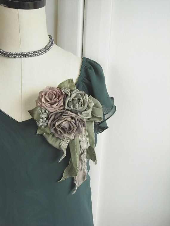 reserved corsage old linen roses hand dyed от kikosattic