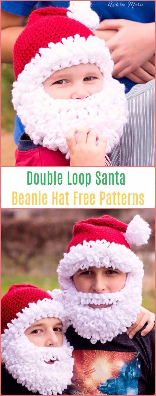 Crochet Double Loop Santa Beanie Hat Free Pattern - Crochet Christmas Hat Gifts Free Patterns