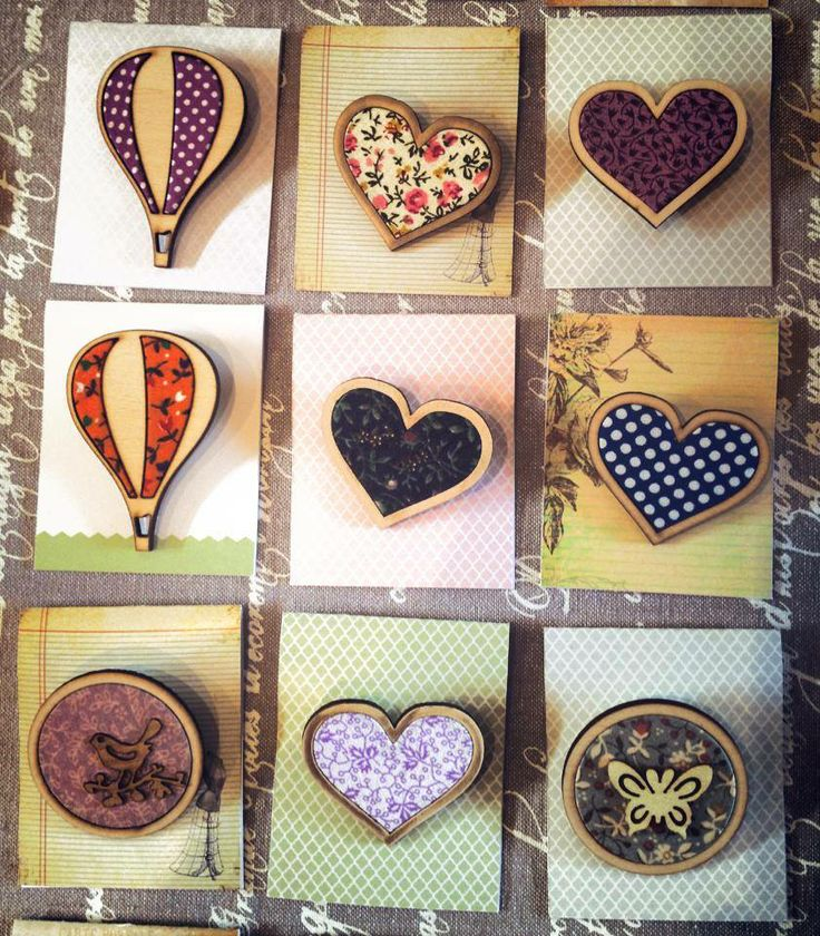 Brooches made using timber and inlaid vintage styled fabric #hearts #hotairballoon #vintage #timber #brooch #butterfly #handmade