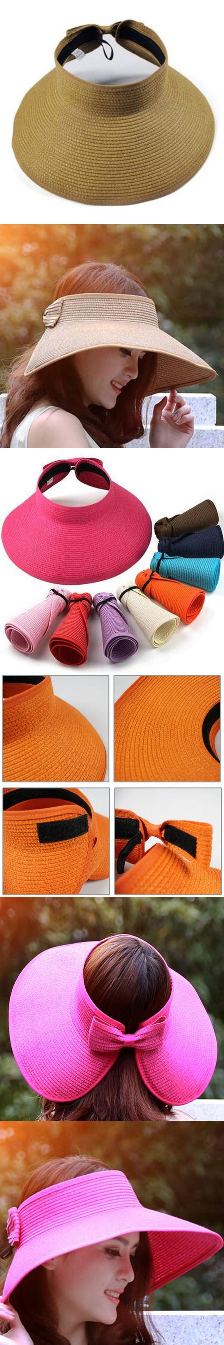 Hot Elegant Women Lady Foldable Roll Up Sun Hat Beach Bow-knot Wide Brim Straw Visor Hat Round Gorras Summer Female Accessory