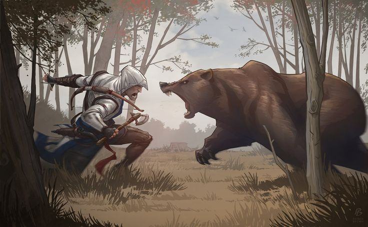Assassin's Creed 3 Bear Attack by PatrickBrown on deviantART