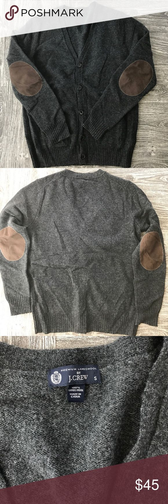 HPMen's J. Crew cardigan sweater small Charcoal gray sweater with brown suede elbow patches. Like new! J. Crew Sweaters Cardigan