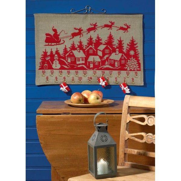 Borduurpakket Kerstman op slee boven dorpje - Santa Claus : Kerst - De Spinnerij…