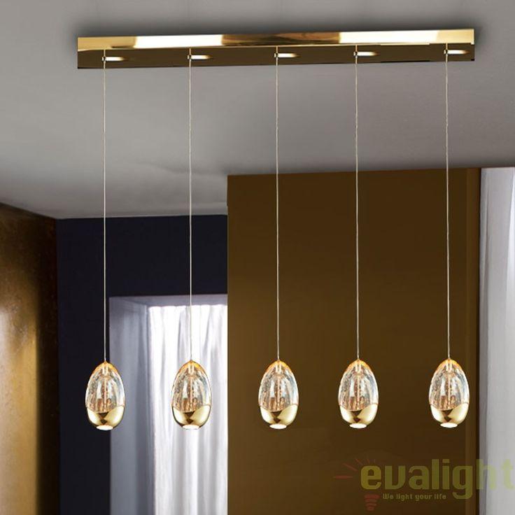 LUSTRA CU 5 PENDULE LED, ROCIO auriu 783627 - Corpuri de iluminat, lustre, aplice