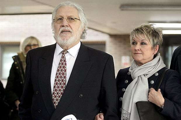 Dave Lee Travis left court with his wife, Marianne Griffin